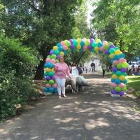 Fun Whimsical Outside Balloon Arch