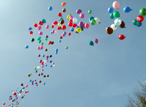 A balloon release with balloons filled with wildflower seeds to celebrate a loved one or other special occasion.