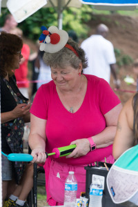 Christine (a.k.a. Ms. Tickle) is a balloon twister at the Festival on the 4th at the World's Fair Park in Knoxville.